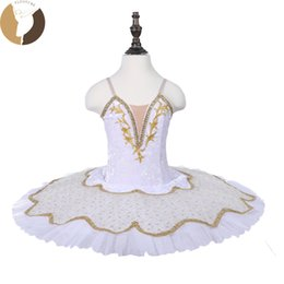 belly dancing decorations Promo Codes - Fltoture CT18014 Simple Ballet Tutu Kid Dancewear For Ballet Competition White Tutu With Gold Decorations White Snow Costumes