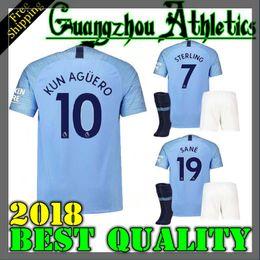 Wholesale soccer jersey man city - 18 19 sane soccer Jerseys 2018 2019 Man City kids kit DZEKO KUN AGUERO KOMPANY TOURE YAYA DE BRUYNE Home Shirt Adult and kids