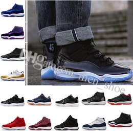 Wholesale embroidered top women - 11 High top mens basketball shoes Midnight Navy Gym Red Patent leather + Nylon 11s women Outdoor athletic basket boots size 36-47