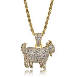 Joyas de cabra online-NUEVO Shiny Trendy Goat Animal Colgante Collar Encantos Para Hombres Mujeres Oro Plata Color Cubic Zircon Hip Hop Joyería