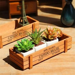 Wholesale Artificial Flowers Wooden - Small Rectangle Wooden Pot Wood Succulent Pots Flower Planter Tray Balcony Meat Plant Garden Supplies bb157-164 2017122807