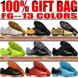 Wholesale New Cheap Soccer Cleats - Cheap New 2018 Outdoor Mens Tiempo Legend VII FG Football Boots Leather Soccer Shoes Tiempo Totti X Roma FG Soccer Cleats Size 39-46