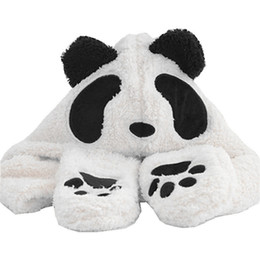 Cappelli invernali panda online-Panda Cartoon Animal Plush Hat Per bambini o adulti Winter Warm Cap Sciarpa combinata e guanto Drop Shipping accettato