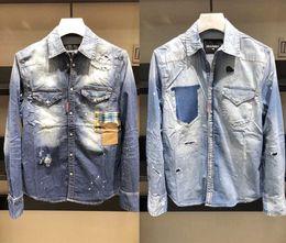 2018 модельер Мужские рубашки повседневная хип-хоп уличная мужская с длинными рукавами джинсовые high street мужские рубашки горячие продажа supplier sale denim от Поставщики джинсовая ткань