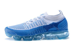 Wholesale Knitted Furs - 2018 vapormax 2.0 Flagship Shoes men women new white Black grey blue pink knitting trainers fashion designer sneakers Casual shoes