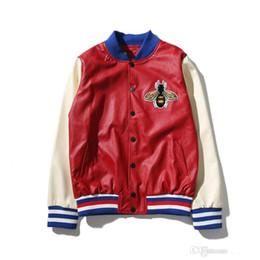 Wholesale Men Varsity Jackets Red - Embroidery Leather Bomber biker varsity jacket Men Women 2017 Autumn Streetwear Color Block Men's Baseball windbreakers man coat