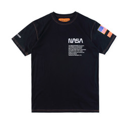 Fahne mode mann online-New York Fashion Hochwertige Heron Preston Nasa USA Flagge Stickerei Männer Frauen Straße Luxus Baumwolle Hoody Casual Kurzarm T-Shirt