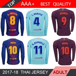 Wholesale Polyester Short Sleeve Shirts - Suarez MESSI O.DEMBELE long sleeve Soccer jersey 2018 home away Blue INIESTA RAKITIC PIQUE Jersey thai quality Man football long shirt