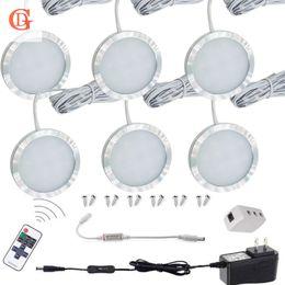 Sem fio desligar a luz on-line-6 pc / set LEVOU Puck Light 12 V 2.5 W LEVOU Sob Gabinete Luz de Controle Sem Fio Armário de Contador Com Interruptor On / off