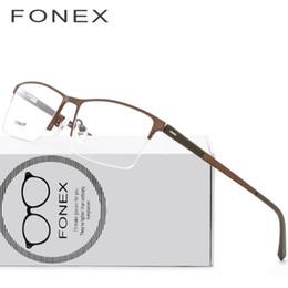7bcc6206f4 2019 TR90 Titanium Optical Glasses Frame Men Semi Rimless Square Myopia Eye  Glass Prescription Eyeglasses Korean Screwless Eyewear 8839 From Medooyu