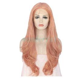 Недорогие розовые длинные парики онлайн-Дешевые Длинные Розовое Золото Цвет Волос Природа Волна Синтетические Кружева Передние Парики Мягкие Пастельные Розовое Золото Glueless Термостойкие Волокна Для Женщин