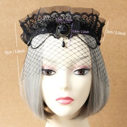 Wholesale leather face mask ball - Lady Elegant Sexy Gothic Crown Flower Black Lace Veil Half Face Eye MASK Stretch Headband Costume Ball Party Halloween Accessory