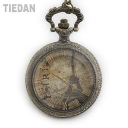 Gelbe taschenuhr online-TIEDAN Dropshipping 2018 Neue Ankunft Hohl Bronze Steampunk Antike Taschenuhren Gelb Paris Zifferblatt Retro Fob Uhren Geschenke