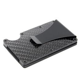 Легкий кошелек для карт онлайн-Тонкий держатель кредитной карточки RFID волокна углерода преграждая случай зажима денег бумажника металла легкий носит для hikingCamping