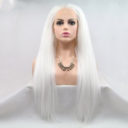 cosplay white straight long hair Coupons - New Sexy Cosplay White Long Yaki Straight Lace Wigs with Baby Hair Free Part Heat Resistant Glueless Synthetic Lace Front Wigs for Women