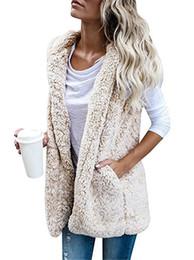 Wholesale Hooded Vests For Women - Women Winter Sherpa Vest Warm Hooded Waistcoat Outwear Casual Fashion Sleeveless Fur Zip Up Jacket for Girls Ladies