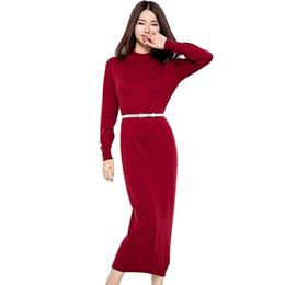Invierno maxi vestido de lana online-Otoño Invierno Vestido Retro Mujer palabra de longitud Lana Soft Comfort Maxi Vestido de manga larga Cinturón Vestidos elegantes