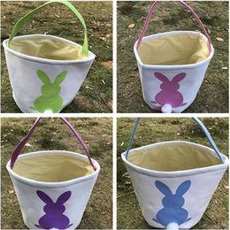Wholesale Burlap Fabric Bags - DIY Easter Burlap Bunny Bag Baskets Kids Cute Easter Jute Rabbit Ears Bag Handbags Funny Storage Bags Celebration Gift For Children