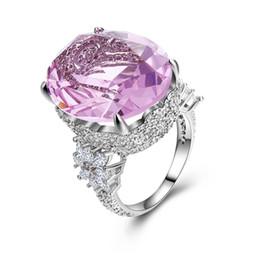 Бижутерия обручальные кольца онлайн-SHUANGR старинные розовый цирконий кольцо серебряный цвет драгоценный камень широкая полоса обручальные кольца для женщин бижутерия S18101608