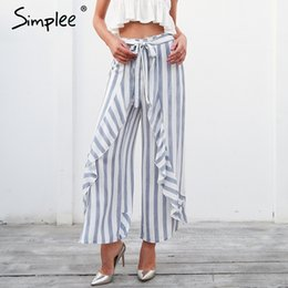 63ee8345e346 Simplee Stripe split wide leg pants women bottom Sash ruffle high waist  trousers Summer beach casual pants female 2018