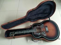 Wholesale acoustic jumbo - Vintage sunburst color 43 inch acoustic guitar,rosewood pickguard abalone purfling Deluxe guitar electric acoutsic