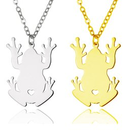 Wholesale Frog Pendant Gold - Frog Pendant Necklace popular shaped Gold Stainless Steel Polished Silver Women Fashion Jewelry Frog Lover Gift Wholesale