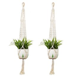 Wholesale Indoor Plants Decoration - Macrame Plant Hanger Holder Indoor Outdoor Hanging Planter Flower Basket Pot Home Decoration DHL free shipping