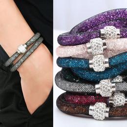 Wholesale Wrap Mesh Bracelet - Fashion Jewelry Handmade Bracelets Women Charm Rhinestone Double Mesh Full Crystal Magnetic Slimming Clasp Wrap Bangle Jewelry
