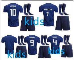 Crianças 2018 copa do mundo Japão casa azul camisa de futebol Kits 2017 OKAZAKI KAGAWA HASEBE NAGATOMO 17 18 Japão longe criança camisas de futebol de