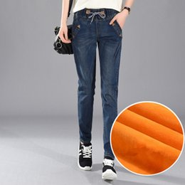 Wholesale Girls Size Outerwear - 200 Pounds Plus Size 5XL Women Winter Harlan Jeans Leisure Elastic Waist Trousers Thick Girls Outerwear With Velvet Pants MZ1891