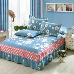 Wholesale Romantic Bedding Sets - 2017 Summer fashion bed skirt white Plant flowers Romantic fairy twin Full Queen king size cotton fancy bedspreads bedding set