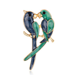 Wholesale Parrot Chain - Double Birds Brooches For Women 2018 Fashion Enamel Devoted Couple Brooch Two Parrots Brooch Animal Jewelry
