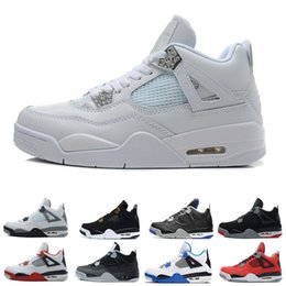 Wholesale Cement M - Best 4 4s men basketball shoes Black Cat bred White Cement Royalty Pure Money Fire Red oreo Motosports Fear Sneakers Trainers sports shoes