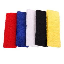 Wholesale Tennis Balls Elastic - Outdoor Sports Ball Games Tennis Sweatbands Forehead Head Hair Sweat Band Elastic Terry Cloth Cotton GYM Yoga Fitness HeadBand