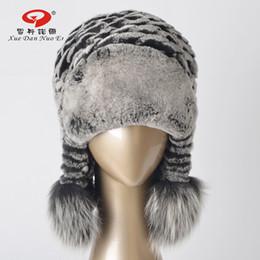 vendite di pellicce coniglio rex Sconti 2017 nuovo arrivo cappello reale rex rabbit fur donne cappello di vera pelle naturale cappuccio di pelliccia con le orecchie reale fox pom vendita calda
