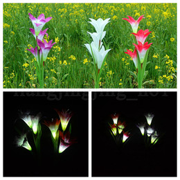 Wholesale solar plastic flowers - 4 Heads Solar Power Lily Flower LED Light Solar Lamp Yard Lawn Lamp 3 Colors Outdoor Lighting Lights Garden Decorations 100pcs OOA5238