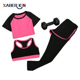 Wholesale yoga bra xxl - 2017 New women 3 pcs yoga set (shirt+pants+bra) jogging suits fitness gym tracksuit clothing quick dry sports suit CT009-CGR1