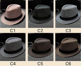 Wholesale pure jazz - 30 Colors Panama Pure Color Hat And Plaid Pattern Jazz Hat Cotton And Line Summer Soft Fashion Stingy Brim Hats Sun Caps