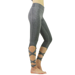 Wholesale thin tight spandex - Beetou 2018 New Women's Fitness Yoga Calf-Length Pants Running Stretch Tight Waist Breathable Show thin Calf-Length Pants.