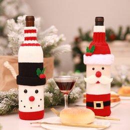 Decorações bonitos da tabela on-line-Garrafa de vinho Cobre Sacos de Natal Bonito Camisola de Natal Decoração de Mesa Boneco De Neve Papai Noel Enfeites Para Casa Decoração Do Partido
