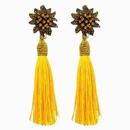Wholesale Thread Chandelier Earring - Ethnic Vintage Big Yellow Long Tassel Earrings Maxi Green Silk Thread Ethnic Crystal Flower Earrings For Women Jewelry Gift 2018 wholesale