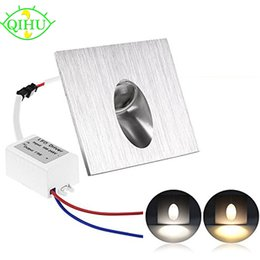 Wholesale Contemporary Wall Decorations - AC 100-245V Wall Lamp 1W Square LED Recessed Porch Pathway Step Stair Light Basement Bulb Led Spot Light Modern Home decoration