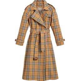 Argentina Cinturón de doble botonadura de cuadros de mujer en la capa larga Camisa de primavera y otoño de temperamento de estilo británico delgado Suministro