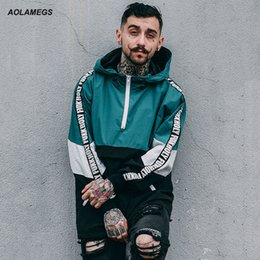 Wholesale Couples Wear - Aolamegs Men Hoodies Fashion Harajuku Loose Hoody Tops Windbreaker Youth Couple Contrast Color Hip Hop High Street Wear Pullover