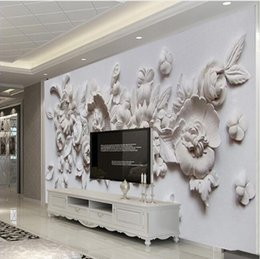 photo wall prints Promo Codes - Custom Photo Wallpaper European Style 3D Stereoscopic Relief Flower Wall Mural Paper Living Room Bedroom Bedside Wall Painting