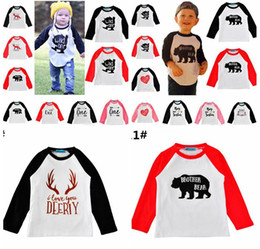 baby boy winter tshirts Promo Codes - Xmas Christmas Boys Girls 100% cotton Fox T-shirts Elk Bear Baby Childrens tshirts Clothing Cartoon Letters Long Sleeve Infant Tshirts 0-5Y