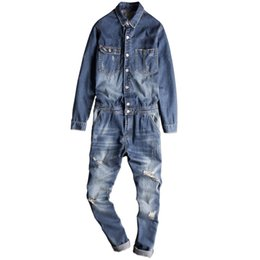 Wholesale Denim Long Sleeve Jumpsuit - New Arrival Casual Men Long sleeves Denim Overalls Jumpsuit Blue Vintage Singer Costumes Ripped Denim Bib Overalls Pants