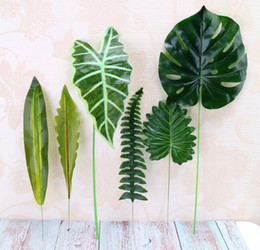 tree flowers Coupons - Artificial Plant Large Artificial Fake Monstera Palm Tree Leaves Green Plastic Leaf for Wedding DIY Table Decoration