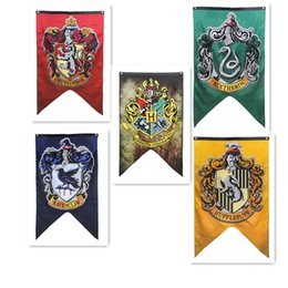 Wholesale Cm Party - Harry Potter Gryffindor Slytherin Hufflepuff Ravenclaw Hogwarts School Flag Banner Fans Festive Party Home Decor Drop Shipping