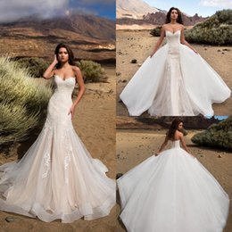 Wholesale Designer Crystal Wedding Gowns Sweetheart - 2018 Designer Champagne Sweetheart Mermaid Lace Wedding Dresses With Overskirts Detachable Train Backless Beach PLus Size Bridal Gowns